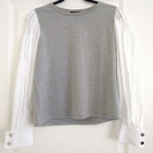 Gray & white top